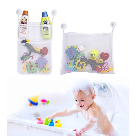 Boxiki kids 1 Holder | Mesh Caddy Set with 4 Anti-Slip Suction Cups | Bathroom Shower Organizer for Toys