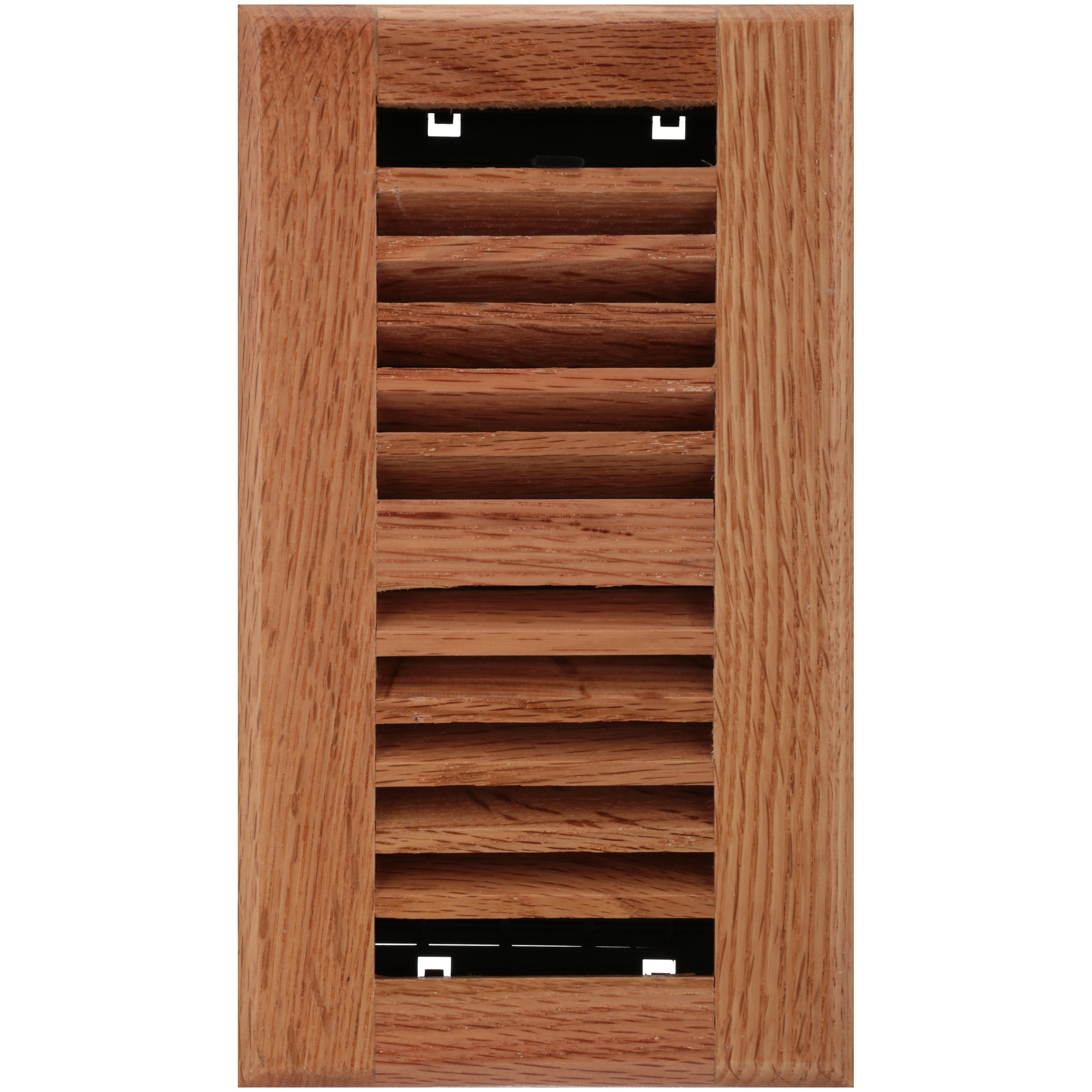 "Decor Grates® 4"" x 8"" Louvered™ Solid Oak Natural Floor Register"