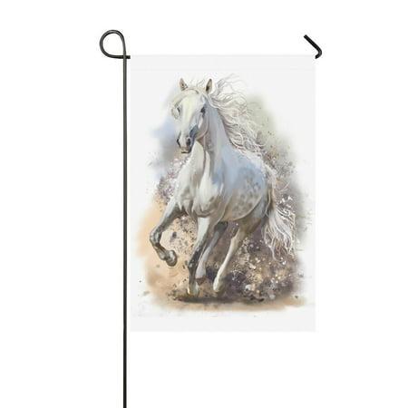 MYPOP Cool White Horse Runs Garden Flag House Banner 12 x 18 - Iu Banners