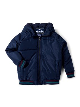 Climate Concepts Boys Hooded Puffer Jacket with Faux Fur Lining, Sizes 6-18