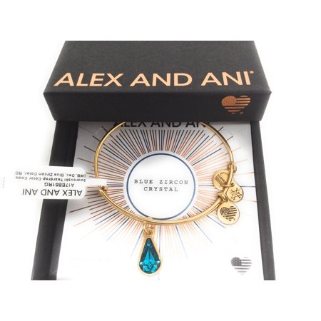 (Alex and Ani December Birth Month Charm Bangle With Swarovski Crystal Teardrop Shape Rafaelian Gold)