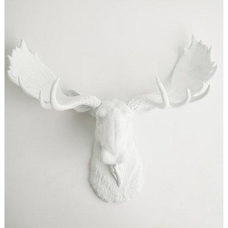 White Faux Taxidermy Faux Moose Head Wall Mount