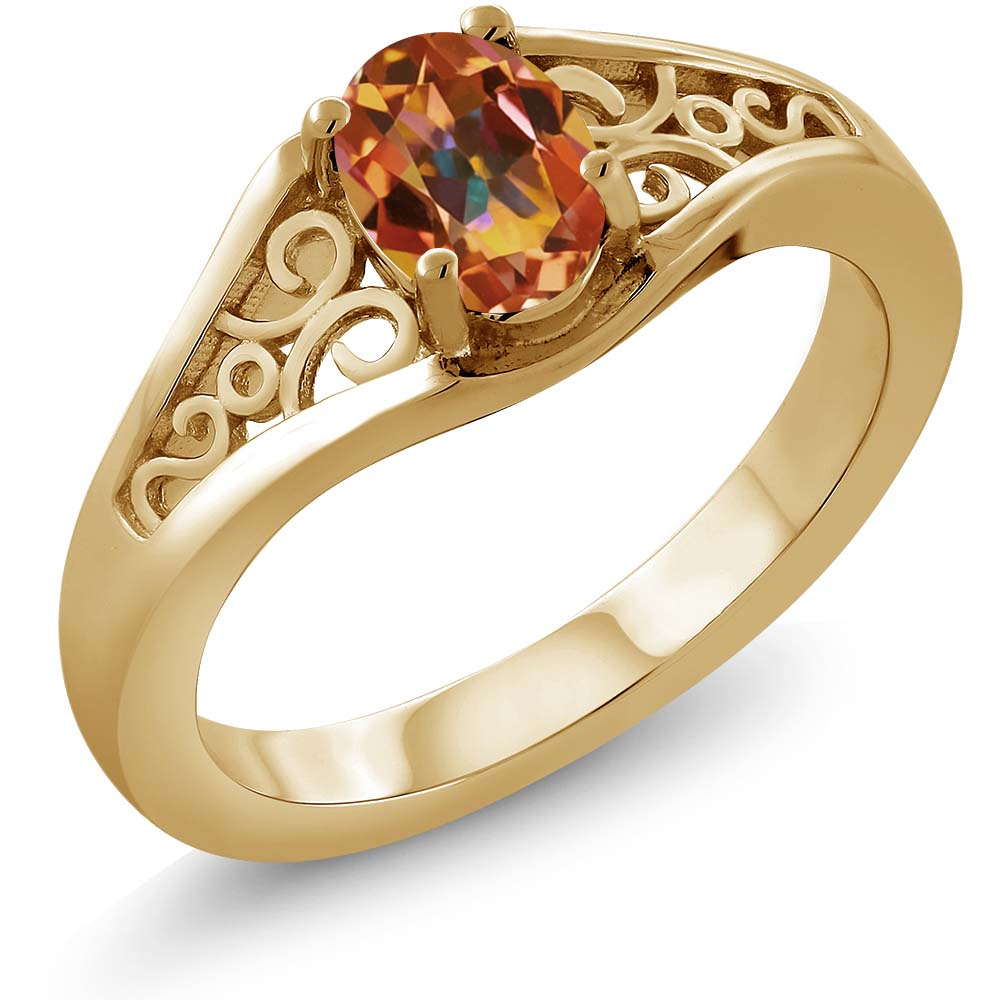 0.95 Ct Oval Ecstasy Mystic Topaz 925 Yellow Gold Plated Silver Ring