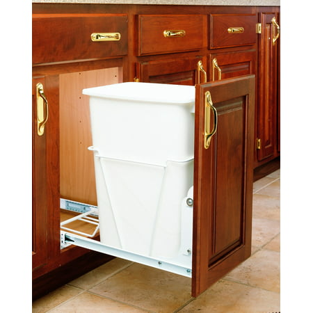 Rev-A-Shelf - RV-12PB S - Single 35 Qt. Pull-Out White Waste Container with Full-Extension Slides