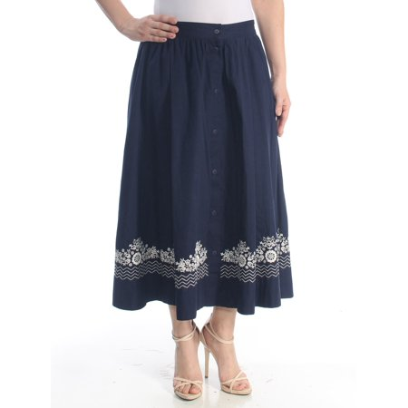 French Connection Button (FRENCH CONNECTION Womens Navy Embroidered Button Down Floral Maxi Evening Skirt  Size:)