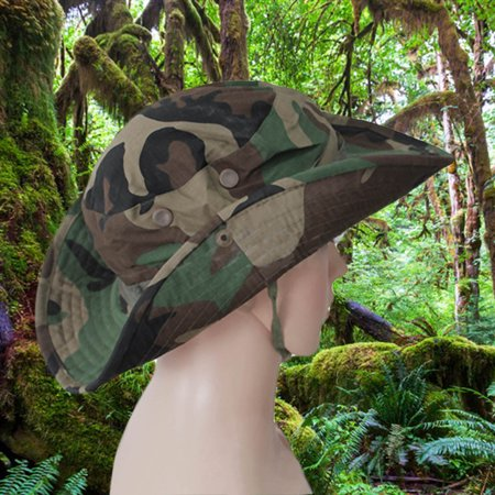 e0a8c1b00fccd Canvas Military Camouflage Bucket Hats Camo Fisherman Hats With Wide Brim  Sun Fishing Bucket Hat for ...