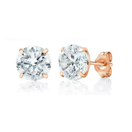 Swarovski Rose Gold Earrings - Jewelers 14K Rose Gold 6MM Round-Cut Stud Earrings wCrystal Swarovski