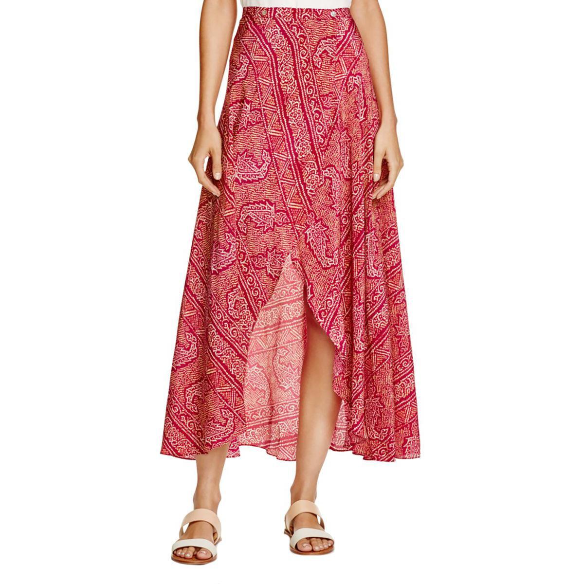 VIX Womens Silk Wrap Maxi Skirt