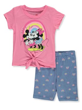 Disney Minnie Mouse Girls' Kiss 2-Piece Bike Shorts Set Outfit (Toddler)