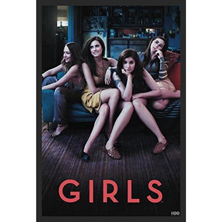 Framed Girls Hbo Series 36X24 Poster Art Print Starring Lena Dunham  Allison Williams  Jemima Kirke Season 1 A Comedy About The Experiences Of A Group Of Girls In Their Early 20S