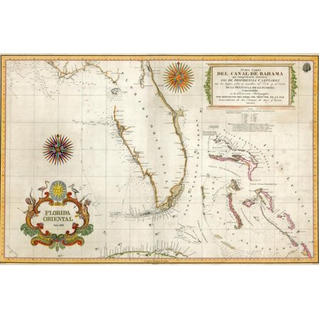Spanish Map of Florida and the Bahamas, 1805 Print Wall Art (Maps Of Spain)