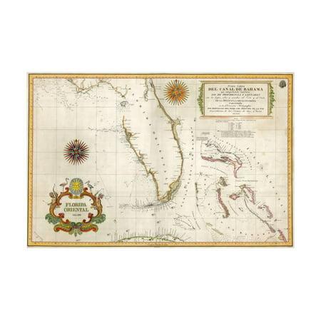 Bahamas Cross - Spanish Map of Florida and the Bahamas, 1805 Print Wall Art