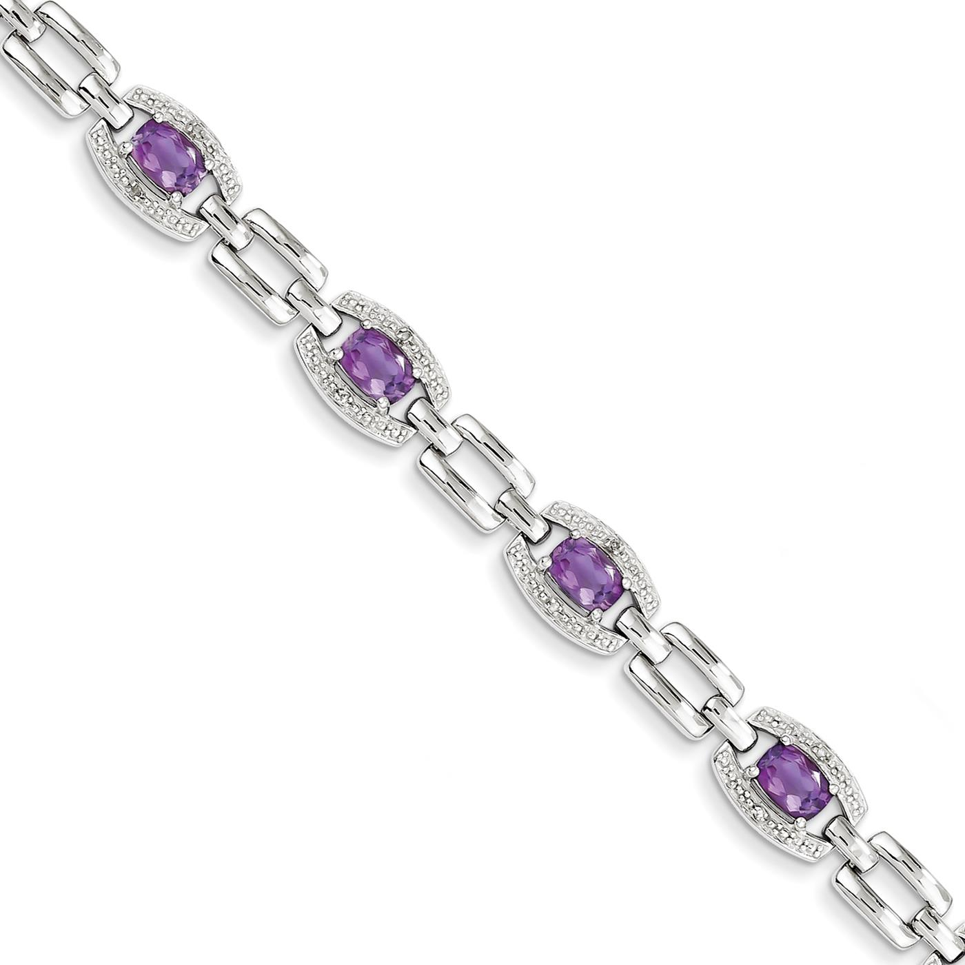 "925 Sterling Silver 8mm Polished Diamond & Amethyst Bracelet 7"" by Fusion Collections"