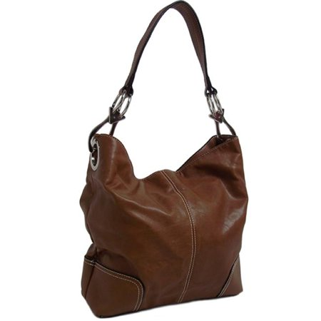 Texas Leather 500644LBR Top Stitching On Center Handbag, Light Brown - image 1 of 1