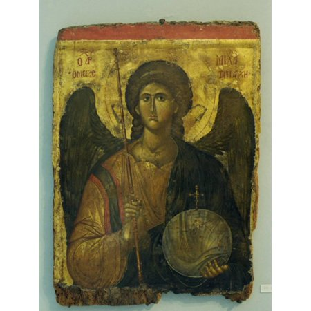 14th Century Icon of Archangel Michael in the Byzantine Museum in Athens, Greece, Europe Print Wall Art By Gavin -