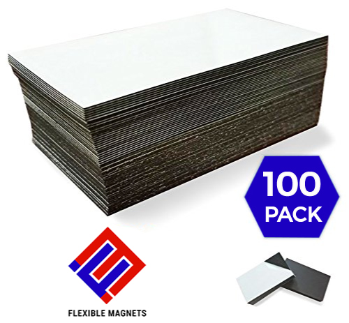 1 X 100 Adhesive Magnetic Business Card Magnets 20 mil Peel and Stick by Flexible Magnets