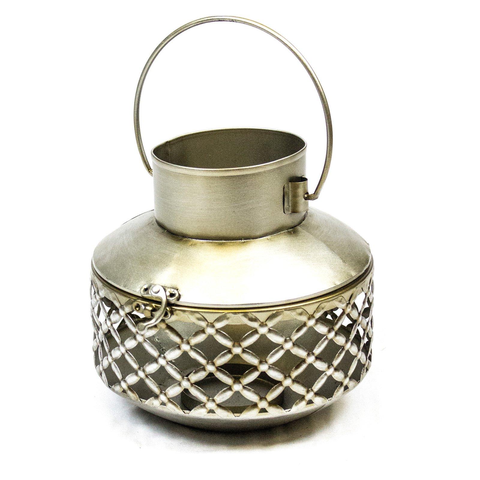 Sagebrook Home Metal Candle Lantern with Lattice Design