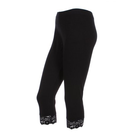 9a6ebf4c99df Ola Mari - Ola Mari's Plus Size Plain Cotton Capri Leggings with Lace Trim,  Black, 1XL - Walmart.com