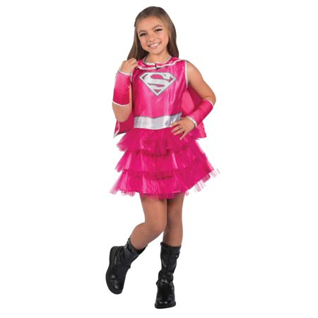 Girls Pink Supergirl Costume Baby Super Girl Dress Cape & Mask Medium (8-10) - Baby Supergirl Costume