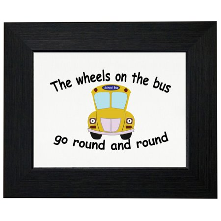 Wheels On The Bus Go Round & Round - Classic Bus Framed Print Poster Wall or Desk Mount Options