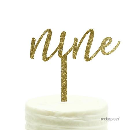Gold Glitter Script Number Nine Acrylic Birthday Cake Topper