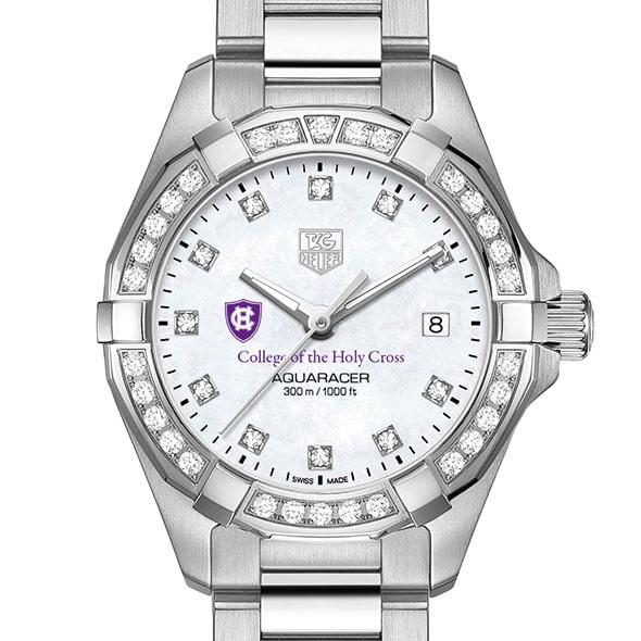 Holy Cross Women's TAG Heuer Steel Aquaracer with MOP Diamond Dial & Diamond Bezel by Tag Heuer