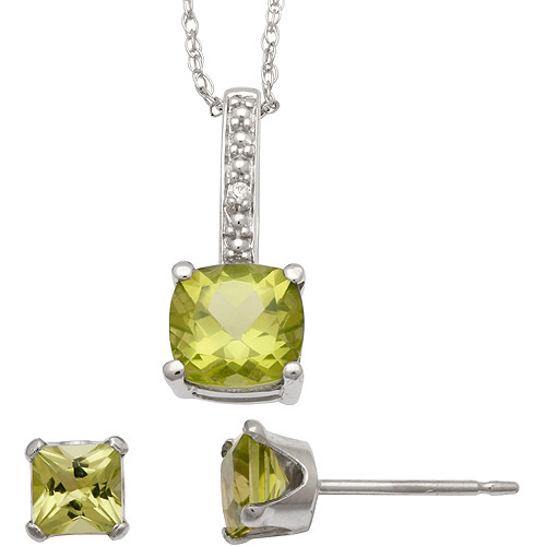 1.95 Carat T.G.W. Peridot and CZ Sterling Silver Cushion-Cut Pendant and Earrings Set