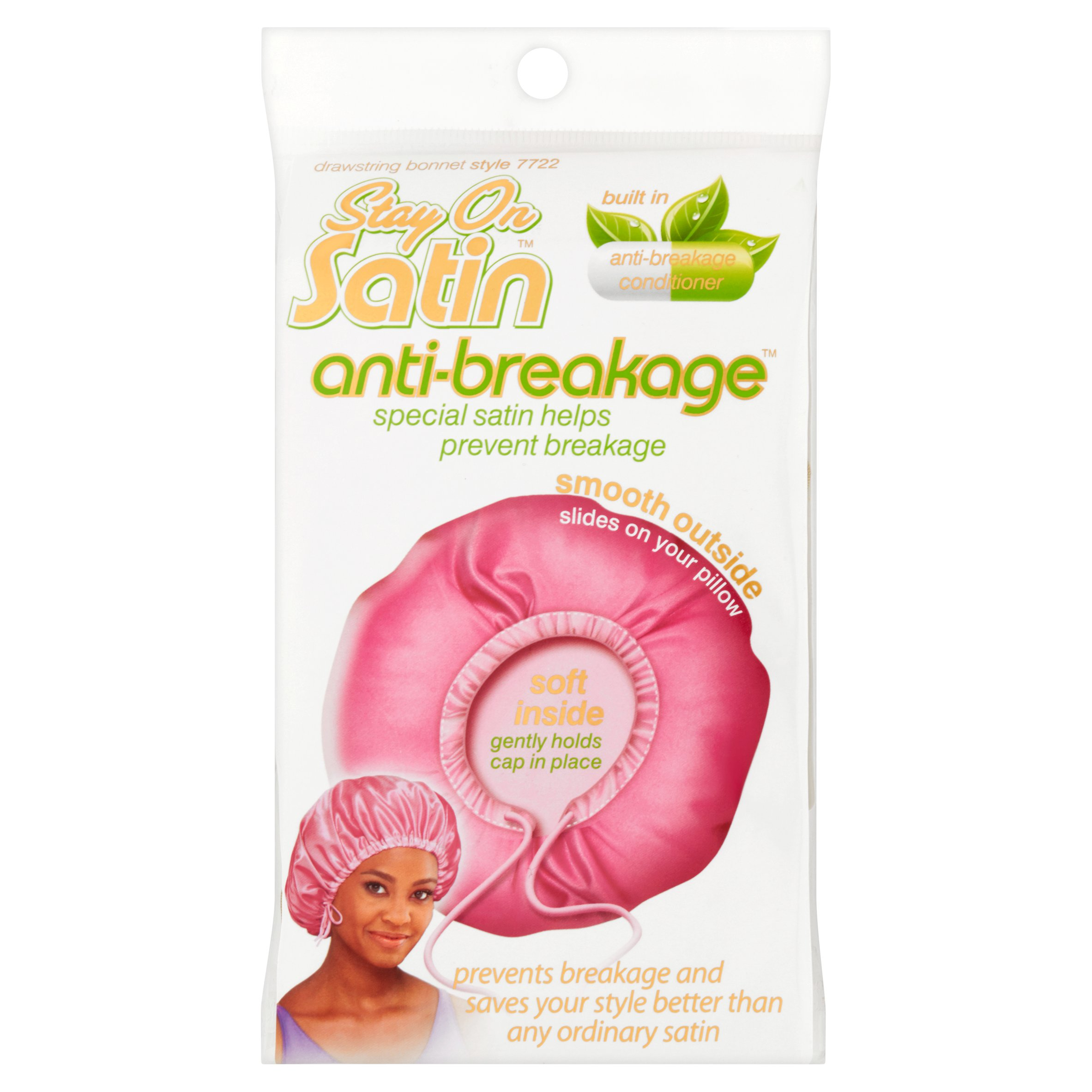 Stay on Satin Anti-Breakage Drawstring Bonnet Style 7722