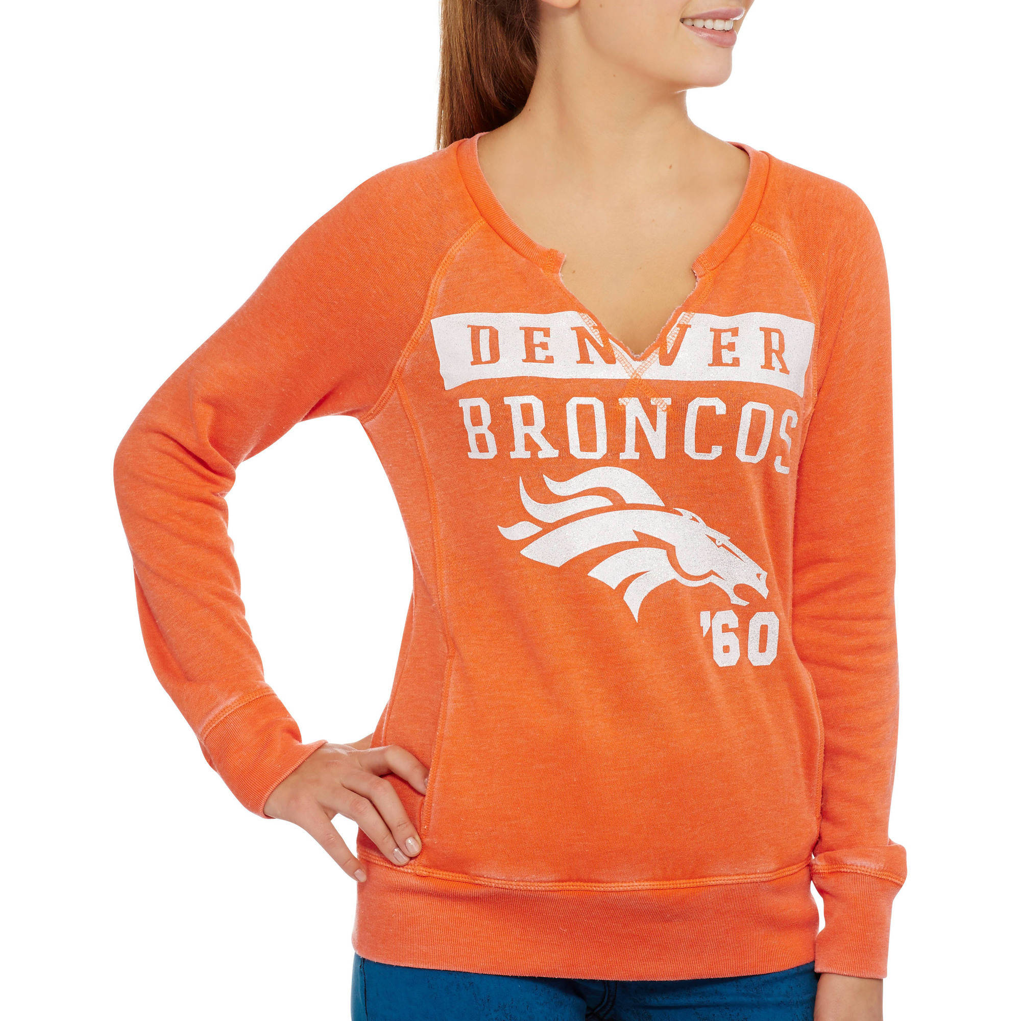 NFL Juniors Broncos Crew Neck Fleece Top