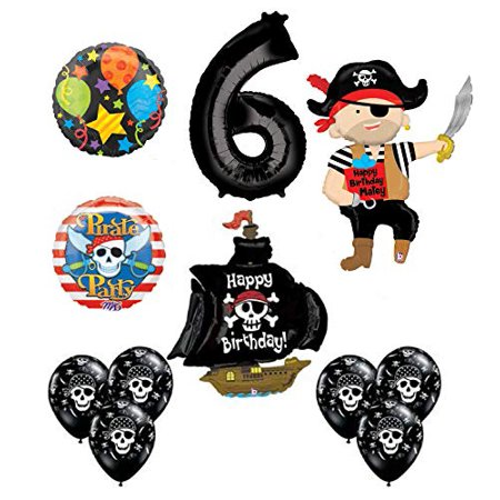 Mayflower Products Pirate 6th Birthday Party Supplies Balloon Bouquet Decorations (Pirate Balloon Bouquet)
