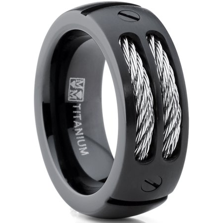 Stainless Steel Cable Design (8MM Men's Black Titanium Ring Wedding Band with Stainless Steel Cables and Screw Design Sizes 7 to 13)