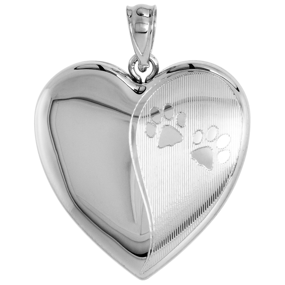 Sterling Silver Heart Locket   Urn Necklace 1 Picture Paw Prints 1 inch NO CHAIN by Sabrina Silver
