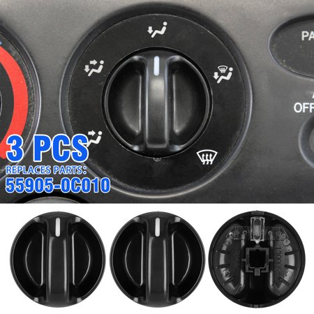 AC Climate Control Knob - Set of 3 - Replaces# 55905-0C010, 559050C010 - Fits Toyota Tundra 2000, 2001, 2002, 2003, 2004, 2005, 2006 - Air Conditioner Replacement Switch 2002 Toyota 4runner Corner