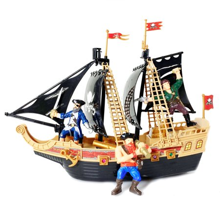 KidPlay Products Kids Light Up Pirate Ship Adventure Toy Real Sounds - Kids Pirate
