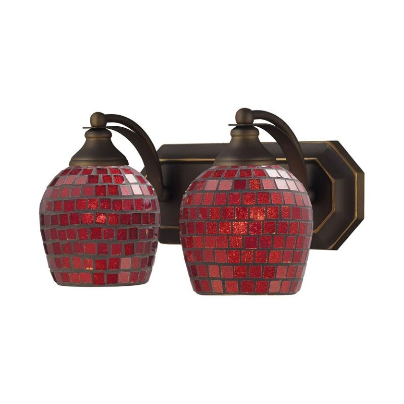 Elk 2 Light Vanity In Aged Bronze And Copper Mosaic Glass 570-2B-CPR