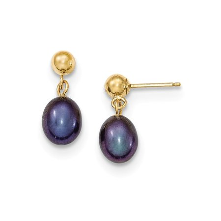 Solid 14k Yellow Gold 6-7mm Black FW Cultured Pearl Dangle Earrings