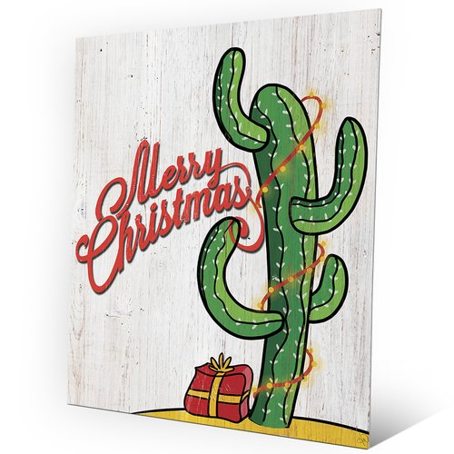 Click Wall Art 'Light Cactus Tree on Wood' Graphic Art on Plaque