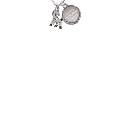 Mustang Mascot (Silvertone Small Mustang - Mascot Sisters Are Best Friends Forever Engraved)