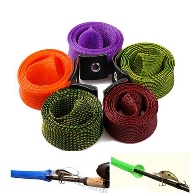 Portable Elastic Braided Buckled Fishing Rod Cover Spinning Rod Protective Gloves 3cm*170cm Color:purple - image 7 of 8