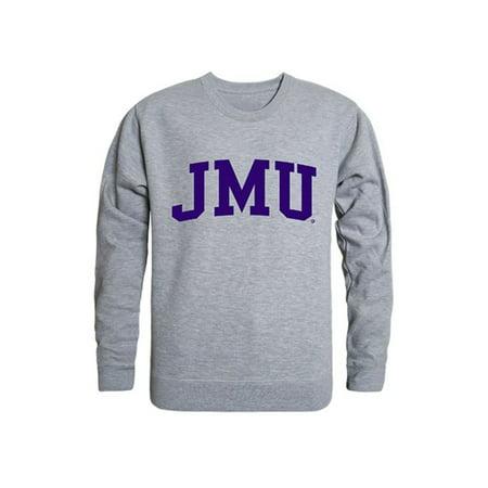 JMU James Madison University Game Day Crewneck Pullover Sweatshirt Sweater Heather Grey James Madison University Lithograph