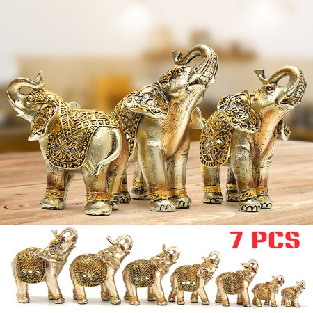 My. Way 7pcs Gold Lucky Elephants Statues (2.5~6.5'') Feng Shui Figurine Home Decor Set ()