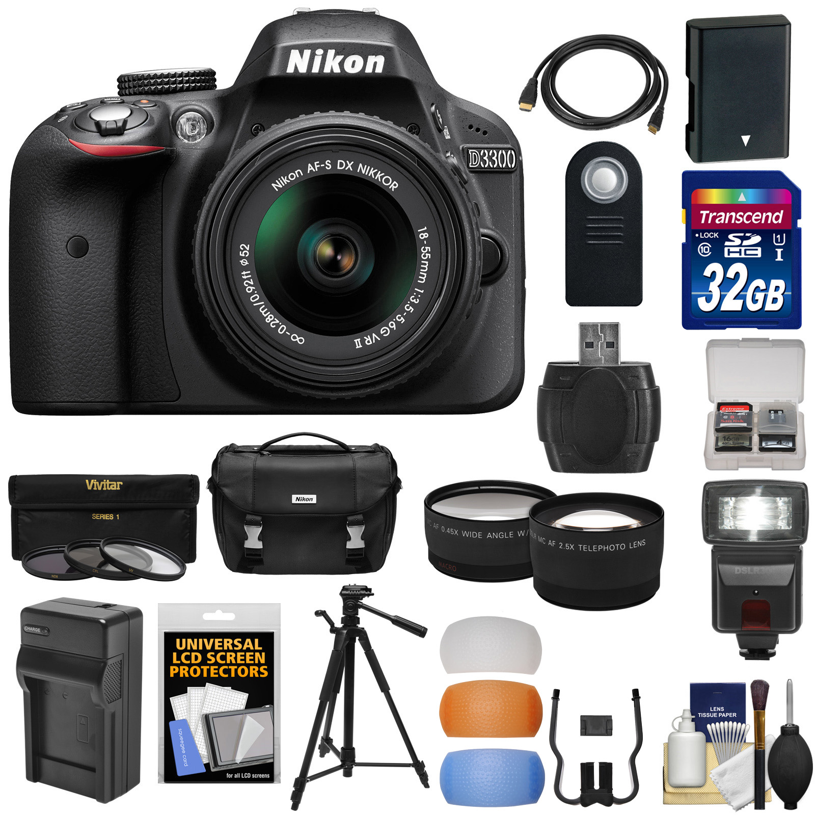 Nikon D3300 Digital SLR Camera & 18-55mm G VR DX II AF-S Zoom Lens (Black) with 32GB Card + Battery & Charger + Case + Tripod + Flash + Tele/Wide Lens Kit