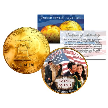 - 1976 GONE WITH THE WIND 24K Gold IKE Dollar *Each Coin Serial Numbered of 376*