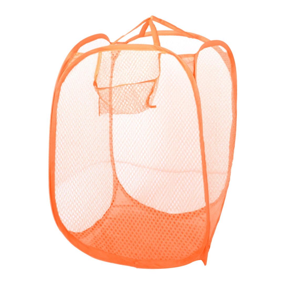 Orange Meshy Design Folding Tidy Laundry Bag Clothes Basket