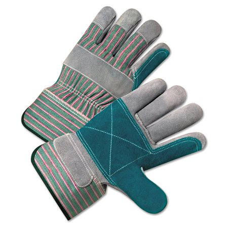Anchor Gloves (Anchor Brand 2000 Series Leather Palm Gloves, Gray/Green/Red, Large, 12)