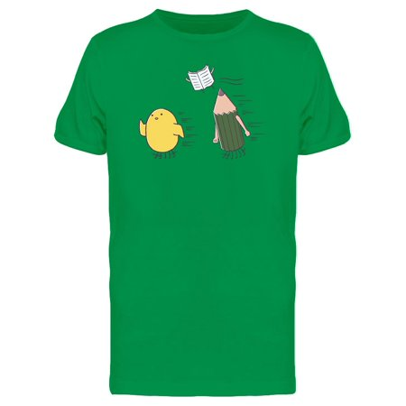 Chicken, Pencil And Book Flying Tee Men's -Image by (Flying Chicken)