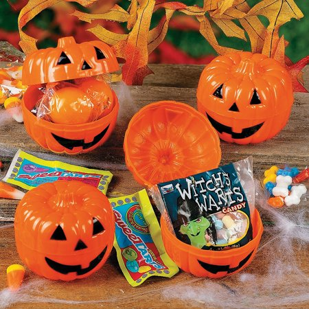 Fun Express - CandY-Filled JacK-O'-Lanterns (2dz) for Halloween - Party Supplies - Pre - Filled Party Favors - Pre - Filled Plastic Containers - Halloween - 24 Pieces - Fun Halloween Party Food For Adults