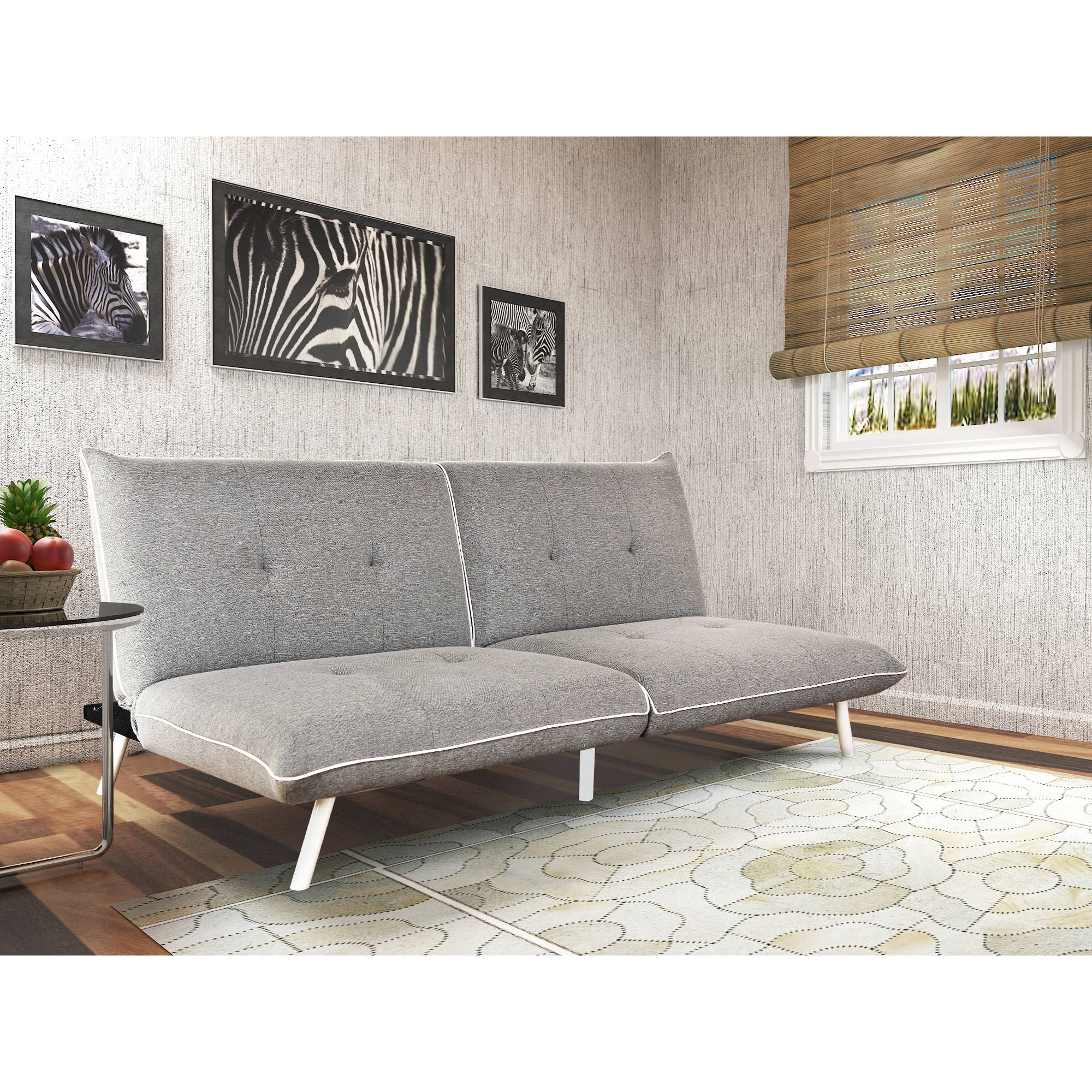 Mainstays Extra-Large Futon with Contrast Piping, Grey White by NISCO CO., LTD