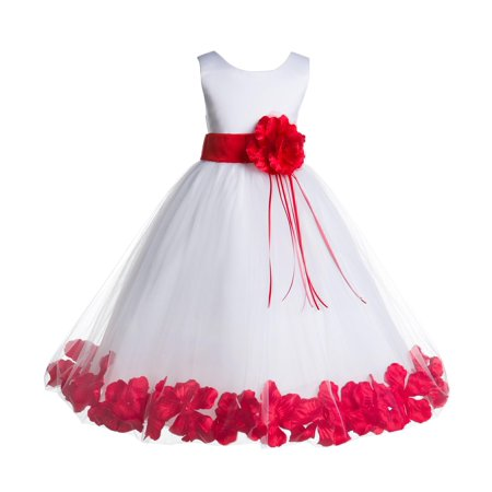 Holiday Dresses For Kids (Ekidsbridal Formal Satin Floral Petals Rose Tulle White Flower Girl Dress Bridesmaid Wedding Pageant Toddler Easter Holiday Recital Communion Birthday Baptism Ceremony Special Occasions)