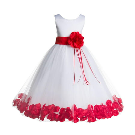 White Satin Tulle Dress - Ekidsbridal Formal Satin Floral Petals Rose Tulle White Flower Girl Dress Bridesmaid Wedding Pageant Toddler Easter Holiday Recital Communion Birthday Baptism Ceremony Special Occasions 007